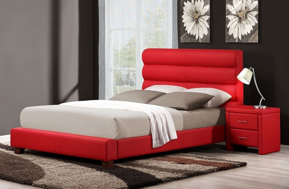 leather black sleigh bed wood bed aven red leather